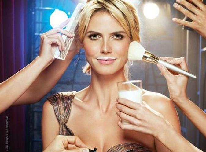 Heidi Klum : glamour, même avec une moustache de lait !