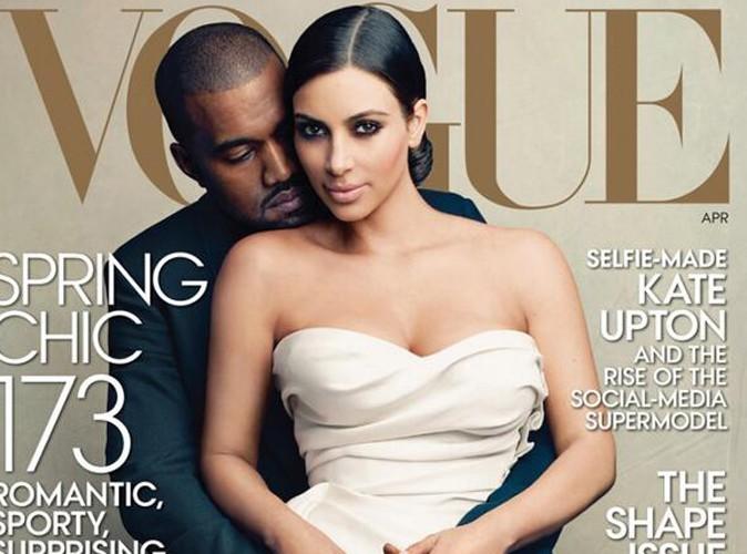 Kim Kardashian : enfin en couverture de Vogue, elle s'affiche en robe de mariée dans les bras de Kanye West !