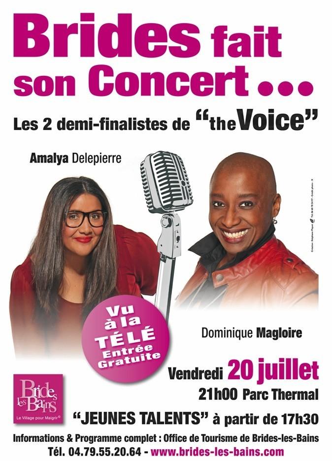 Amalya et Dominique Magloire, révélées par The Voice sur TF1, chantent au parc thermal de Brides-les-Bains (73).