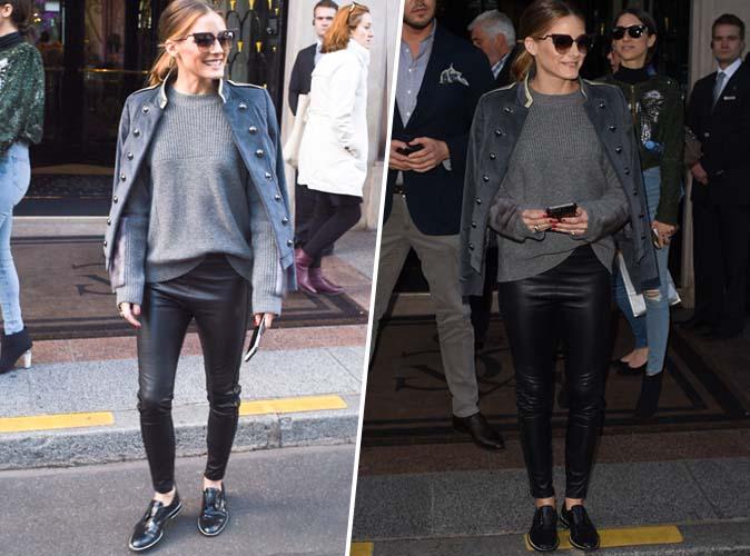 Olivia Palermo : Pantalon en cuir, pull gris, derbies vernies... comme elle on shoppe les indispensables de la saison
