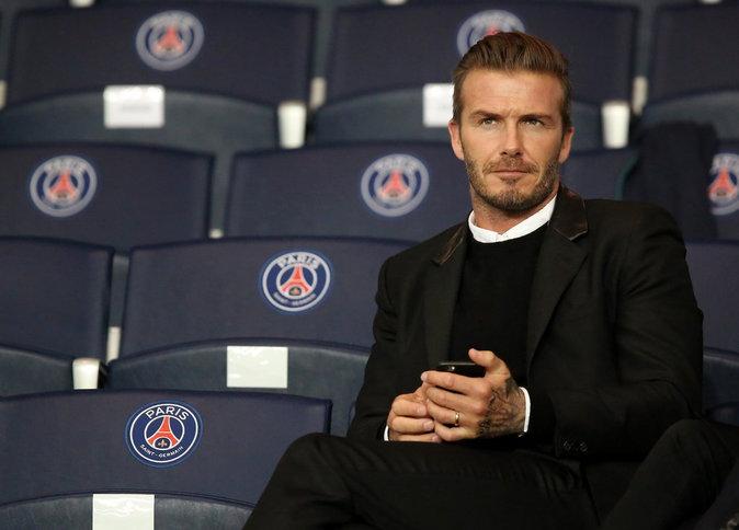 David Beckham assiste au match PSG-Barcelone de la Ligue des Champions 2014 au parc des princes