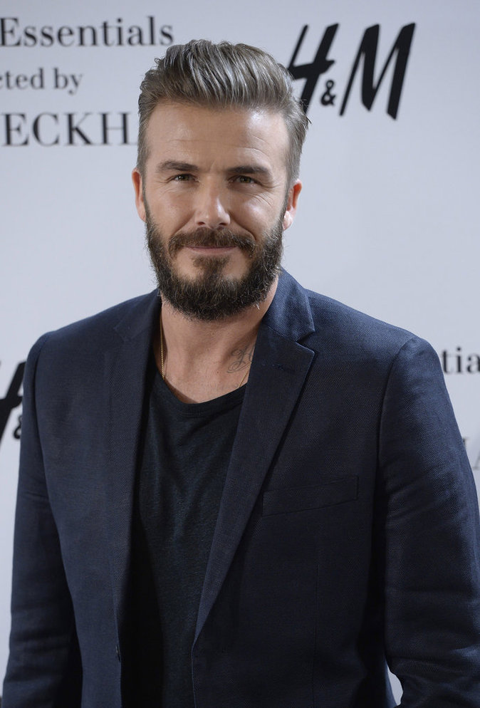 David Beckham pose lors du photocall de la campagne Modern Essentials