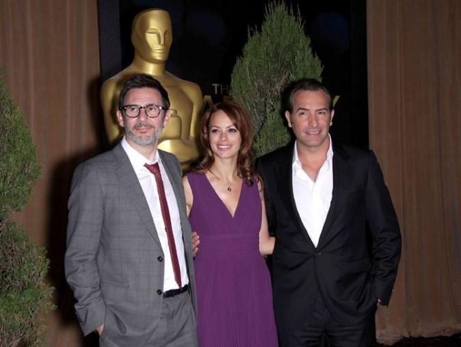 Bérénice Bejo, Jean Dujardin et Michel Hazanavicius à la cérémonie des Academy Awards