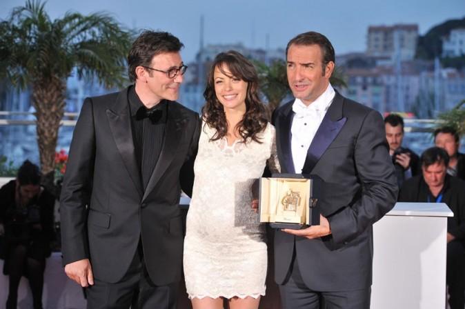 Bérénice Bejo, Jean Dujardin et Michel Hazanavicius au Festival de Cannes