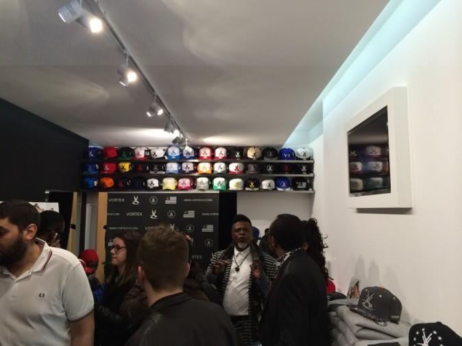 Inauguration de sa première boutique Vortex à Paris, le 16 avril 2014.