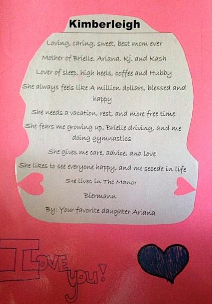 La carte de Kim Zolciak faîte par sa fille