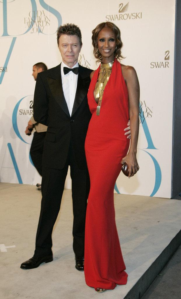 David Bowie et Iman aux 25ème Fashion Awards, sponsorisés par Swarovski, à New York, le 4 juin 2007.