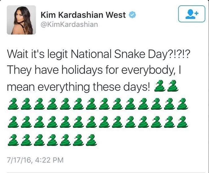 """""""Alors comme ça c'est la journée nationale du serpent aujourd'hui? Il y a des jours fériés pour tout et n'importe qui de nos jours, enfin, pour..."""