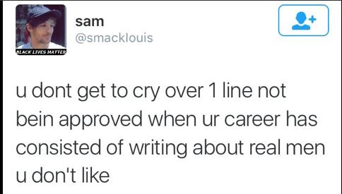 """""""T'as pas le droit de pleurer à cause d'une ligne dans une chanson alors que t'as passé toute ta carrière à écrire sur des mecs que n'aimes pas..."""