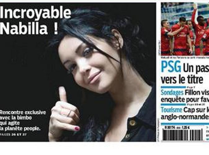 Nabilla en une du journal Le Parisien le dimanche 14 avril