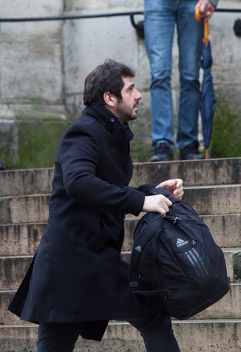 Patrick Fiori assiste aux obsèques de Michel Galabru, le 12 janvier 2016 à Paris