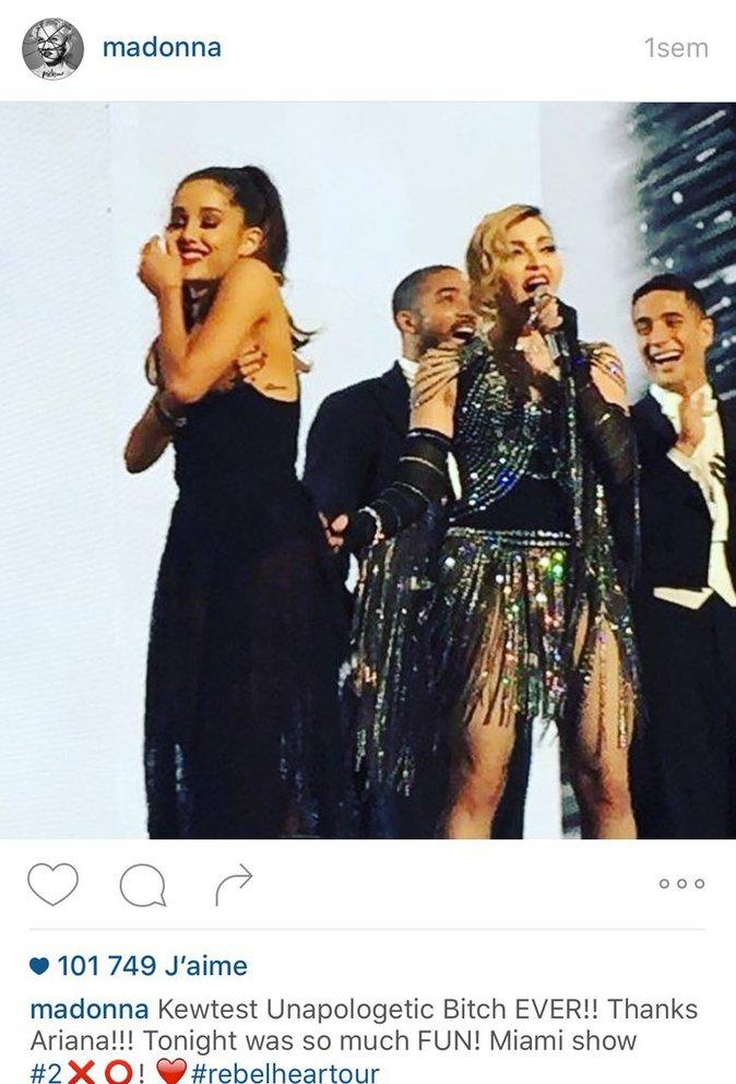 Madonna avec Arianna Grande sur scene la semaine derniere