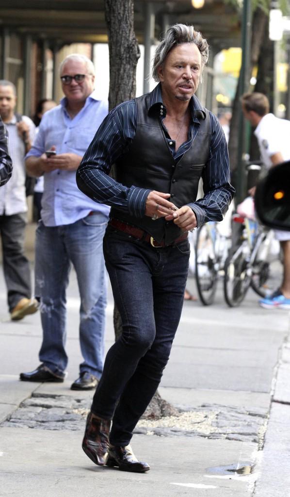 Mickey Rourke à la sortie du restaurant Nello, le 13 août 2014.