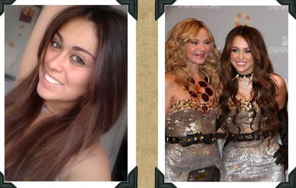 Le sosie de Miley Cyrus (gauche)