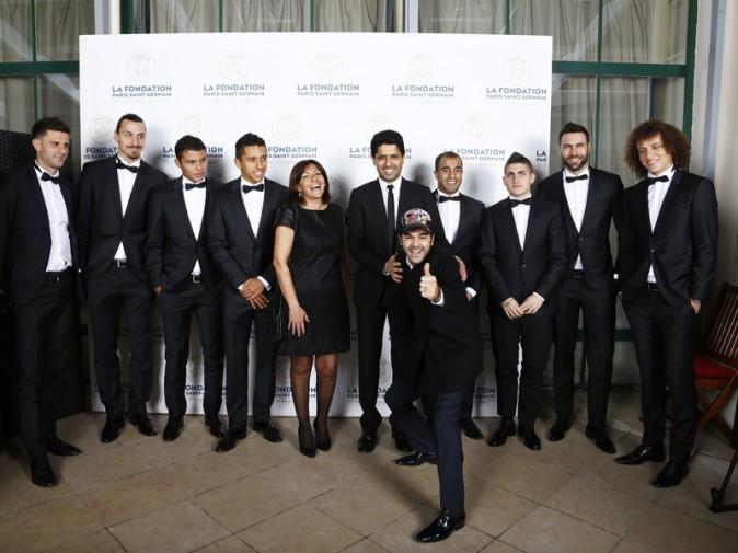 Anne Hidalgo avec les joueurs du PSG