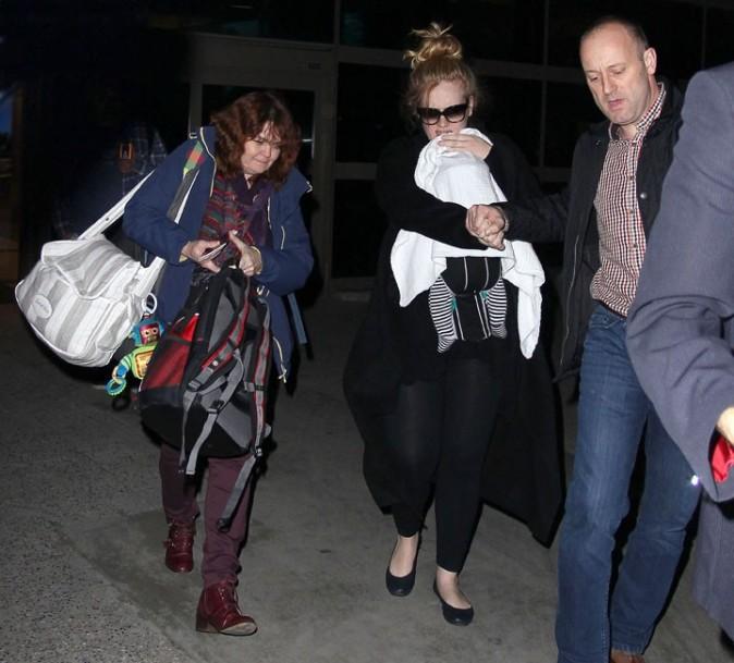 Adele à son arrivée à l'aéroport de Los Angeles le 10 janvier 2013