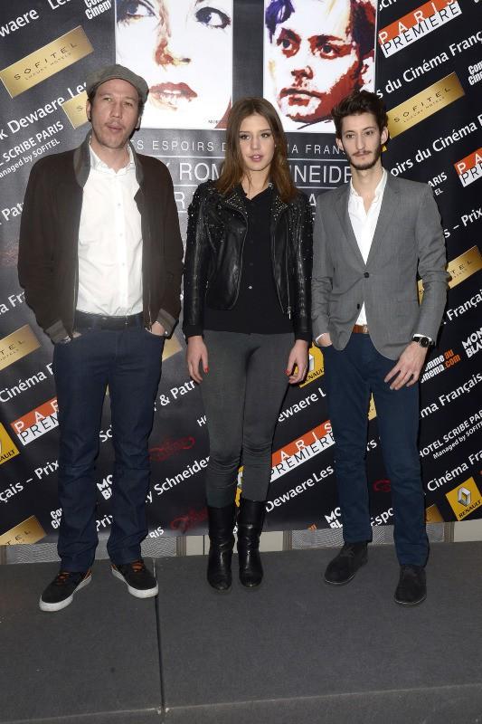 Reda Kateb, Adèle Exarchopoulos et Pierre Niney lors de la conférence de presse de la remise des prix Romy Schneider et Patrick Dewaere à Paris,...