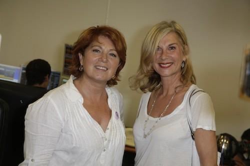 Véronique Genest et Michèle Laroque lèvent des fonds en hommage aux victimes des attentats du 11/09, à Paris le 11 septembre 2014