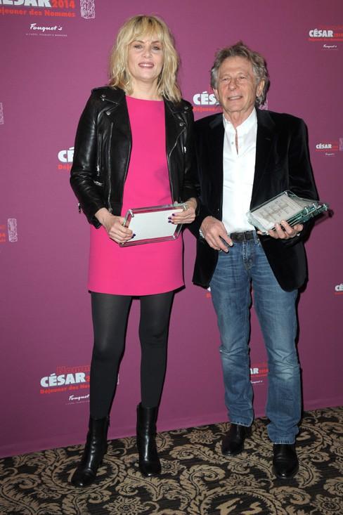 Emmanuelle Seigner et Roman Polanski au déjeuner des nommés aux César organisé au Fouquet's le 8 février 2014