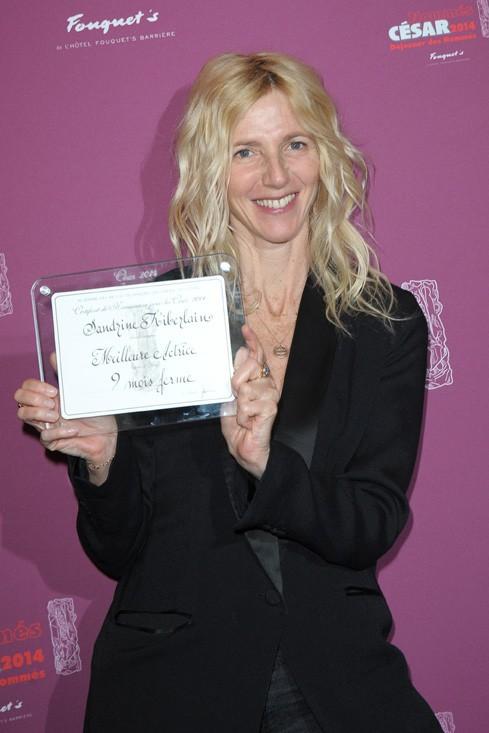 Sandrine Kiberlain au déjeuner des nommés aux César organisé au Fouquet's le 8 février 2014