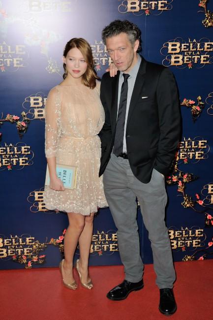 Léa Seydoux et Vincent Cassel lors de l'avant-première du film La Belle et La Bête à Paris, le 9 février 2014.