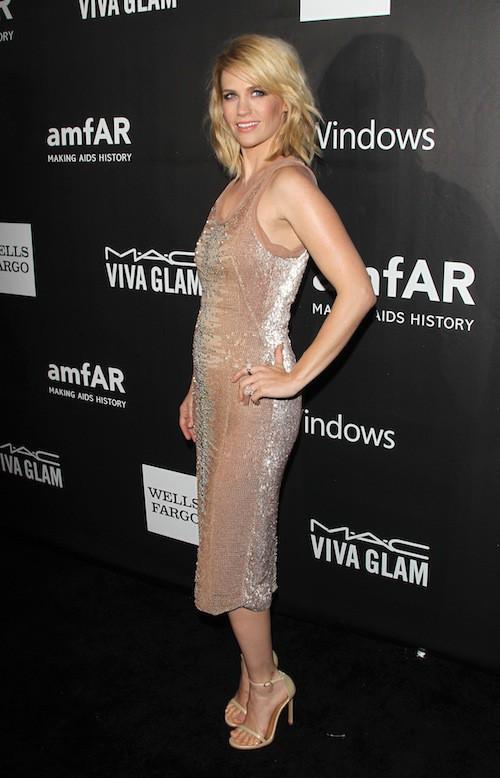 January Jones au gala de l'AmfAR, le 29 octobre 2014 à Los Angeles