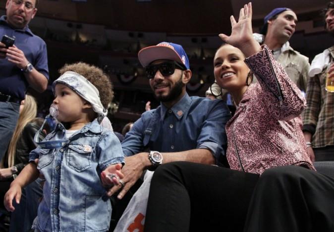Alicia Keys en famille au Madison Square Garden à New York, le 6 mai 2012.