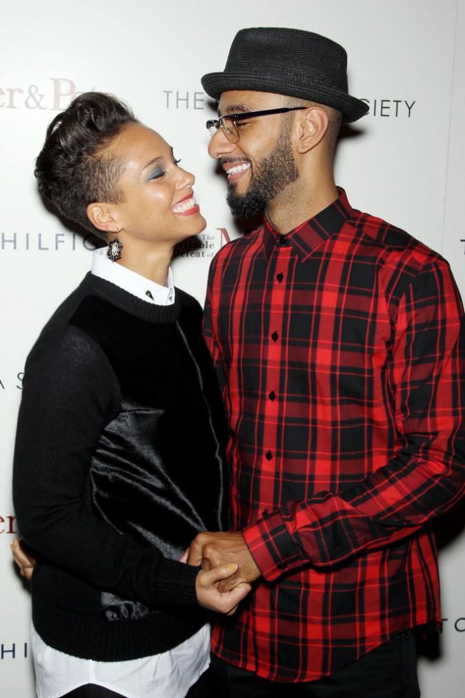 """Alicia Keys et son mari Swizz Beatz à la première du film """"The Inevitable Defeat Of Mister and Pete"""" à New York, le 2 octobre 2013."""