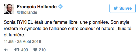 François Hollande rend hommage à Sonia Rykiel