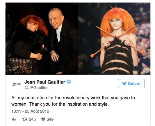 Jean Paul Gaultier rend hommage à Sonia Rykiel