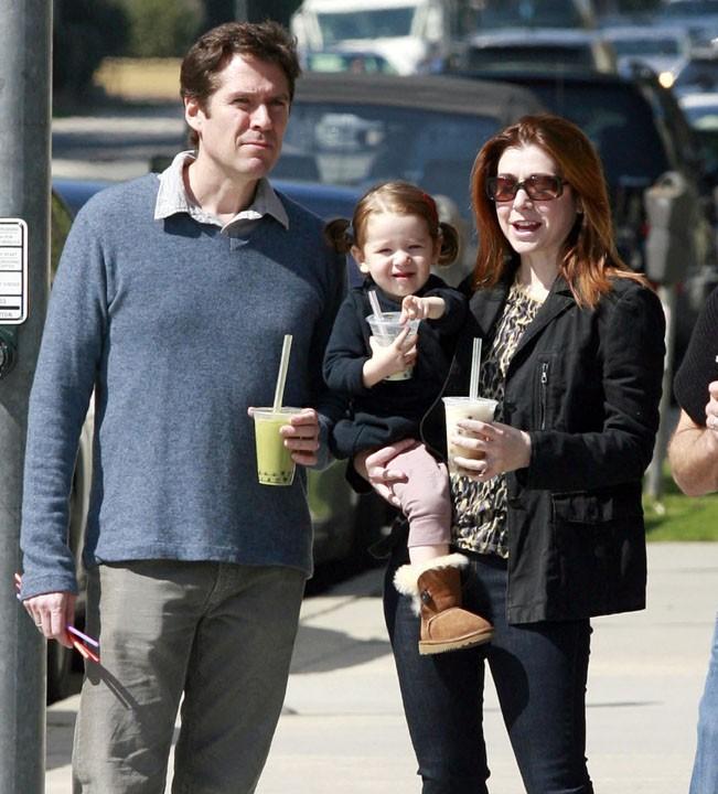 Avec son mari et fille, née de leur idylle en 2009