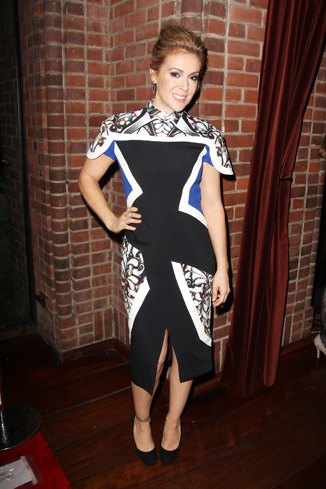 "Alyssa Milano à la soirée de lancement de ""Project Runaway All Stars"", à New-York, le 22 octobre 2013"