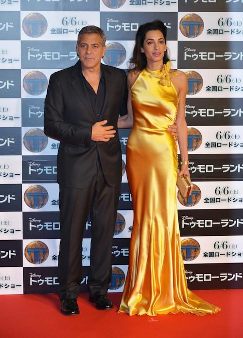 Amal accompagne George pour la promo de Tomorrowland, au Japon, en mai 2015
