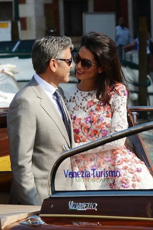 Amal Alamuddin et George Clooney pour leur mariage à Veise en septembre 2014