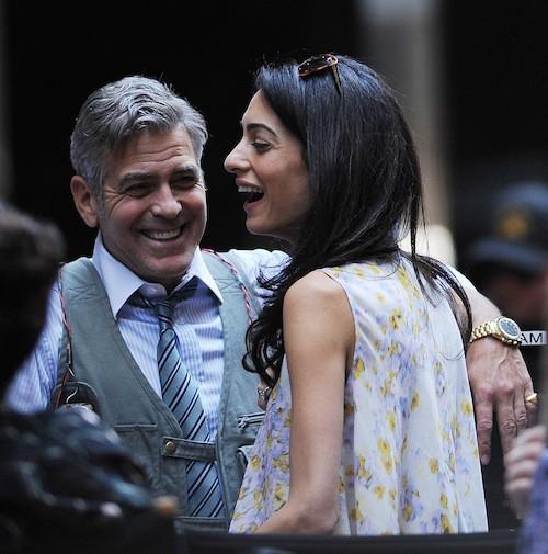 Amal rejoint George sur le tournage de Money Monster, en avril 2015