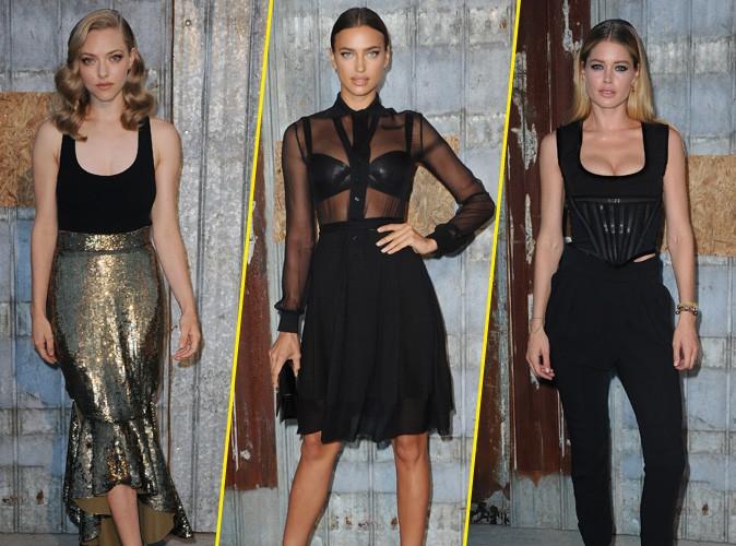 Amanda Seyfried, Irina Shayk et Doutzen Kroes au défilé Givenchy le 11 septembre 2015