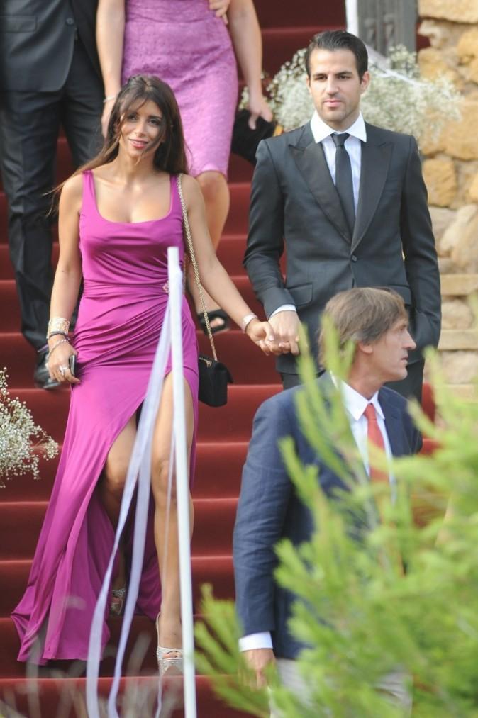 Cesc Fabregas et Daniella Seeman lors du mariage d'Andrés Iniesta et Anna Ortiz à Tarragone, le 8 juillet 2012.