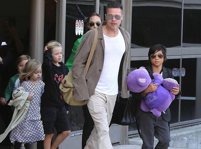Angelina Jolie, Brad Pitt et leurs enfants à Los Angeles le 5 février 2014