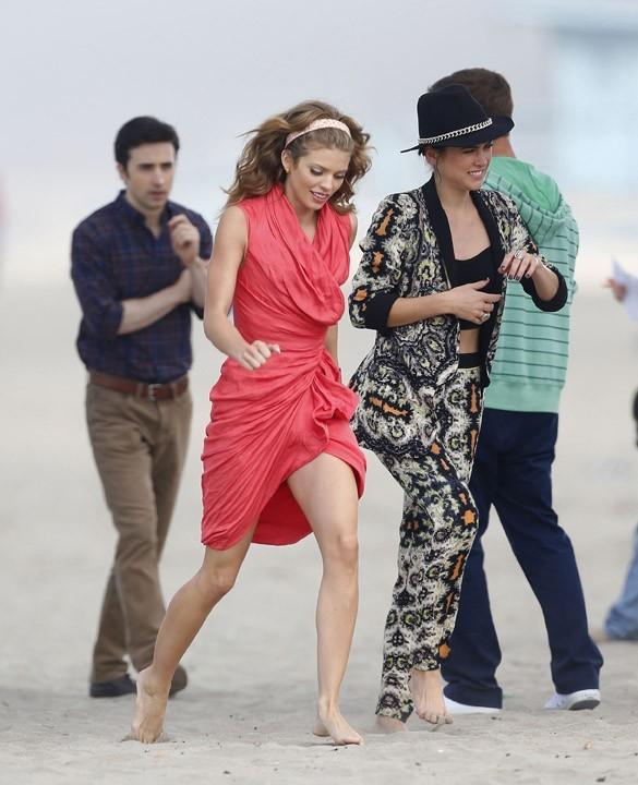 AnnaLynne McCord sur le tournage de 90210 à Los Angeles le 30 octobre 2012