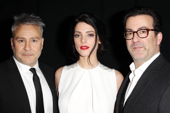 Isaac Franco, Ashley Greene et Ken Kaufman lors du défilé KaufmanFranco à New York, le 11 février 2013.