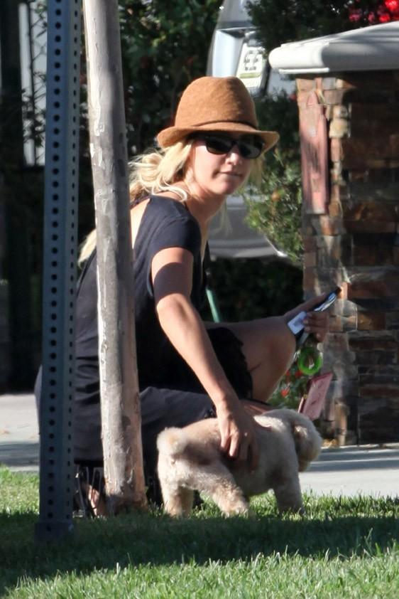 Ashley Tisdale en balade à Toluca Lake avec son chien, le 8 août 2011.