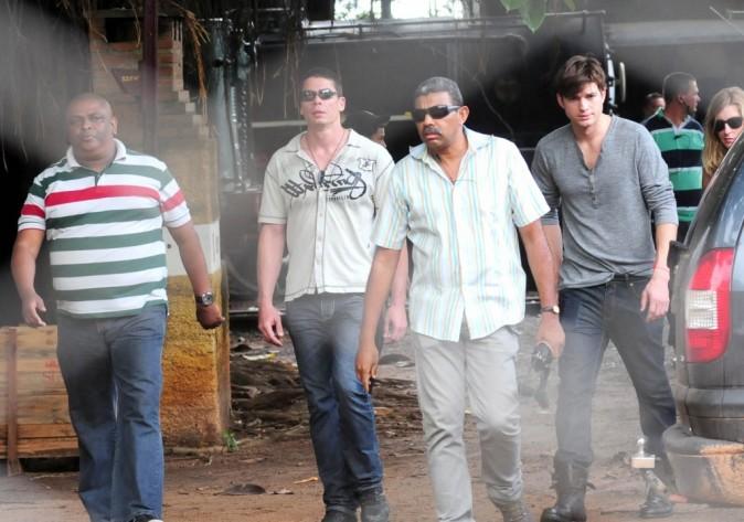 Ashton Kutcher à la gare de Campinas à Sao Paulo, le 24 janvier 2012.