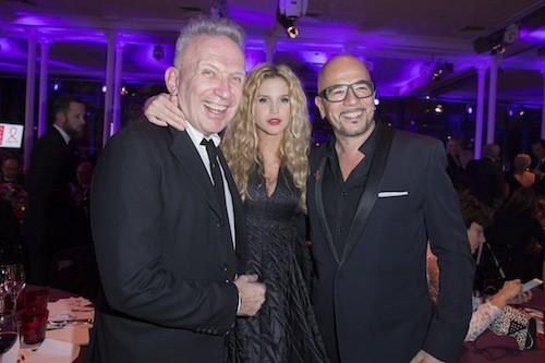 Jean Paul Gaultier, Pascal Obispo et sa compagne au dîner de la mode, le 29 janvier 2015