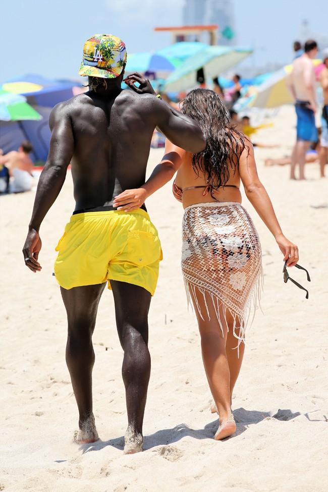 Bacary et Ludivine Sagna à Miami le 19 juillet 2014