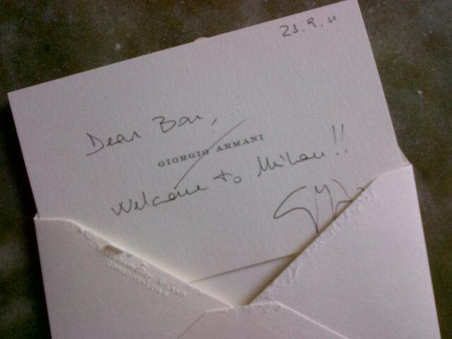 Le fameux carton de Giorgio Armani ...