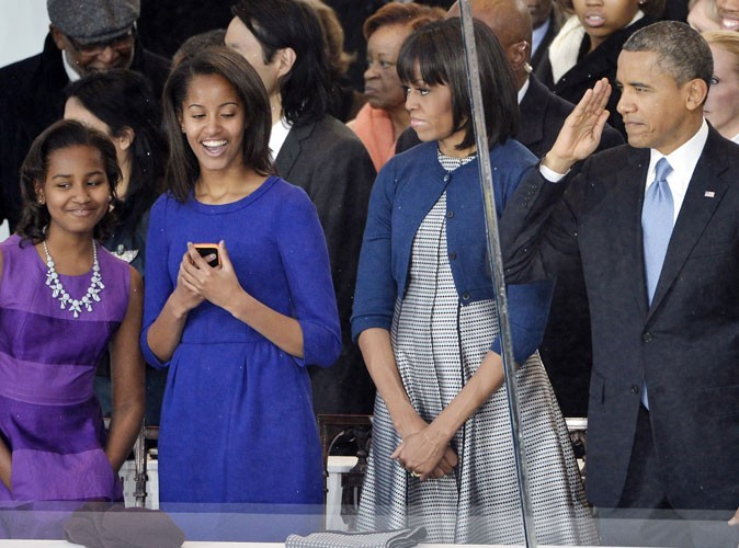 Michelle, Barack et leurs enfants