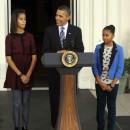 Barack Obama avec ses filles en 2011