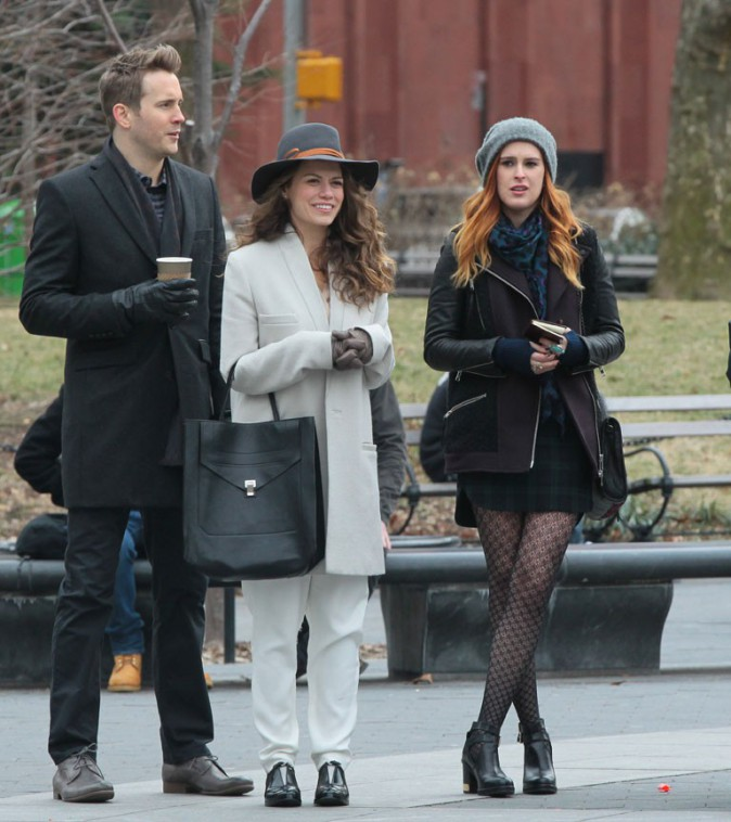 Bethany Joy Lenz et Rumer Willis sur le tournage du pilote de Songbyrd à New-York le 20 janvier 2014