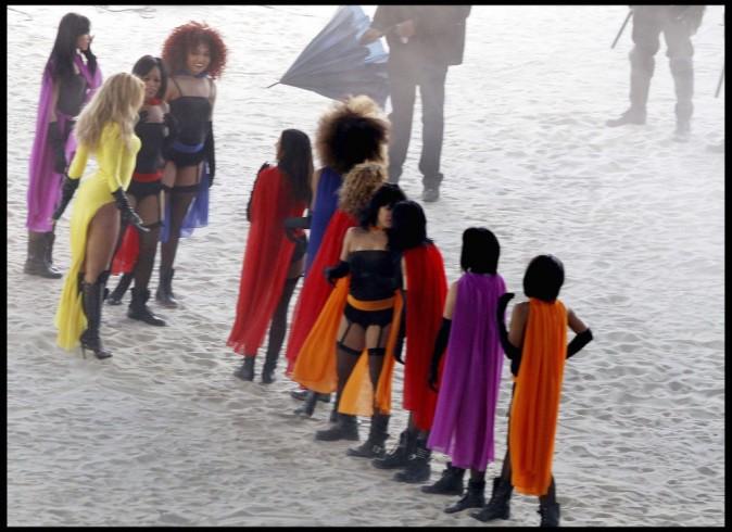 Beyoncé sur le tournage de son prochain clip à Los Angeles, le 13 avril 2011.