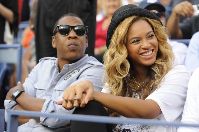 Jay-Z et Beyonce lors de la finale de l'US Open à New York, le 12 septembre 2011.